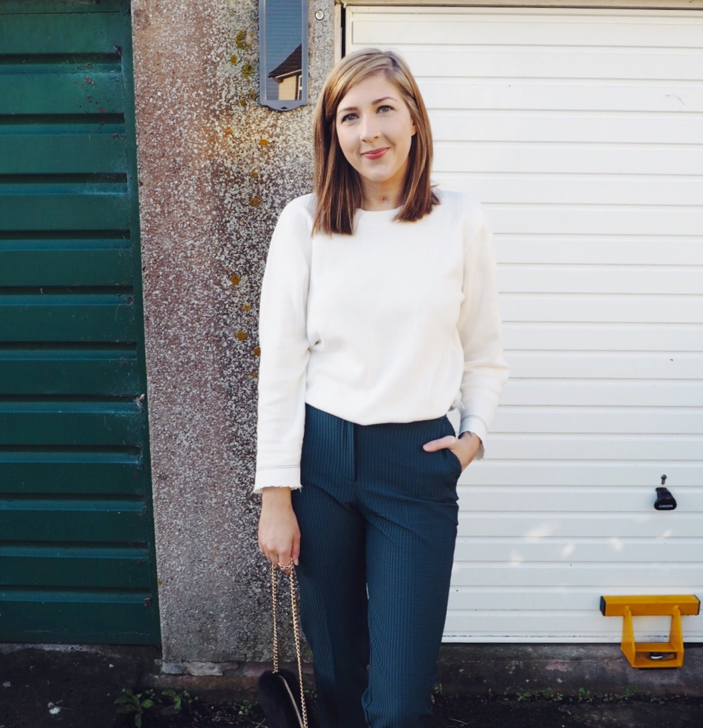 greentrousers, cigarettetrousers, asos, topshop, primark, fluffybag, pointedshoes, wiw, whatimwearing, lotd, lookoftheday, ootd, outfitoftheday, asseenonme, greenandcream, creamjumper, fbloggers, fashionbloggers