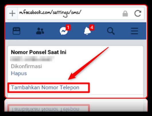 cara ganti nomor utama facebook