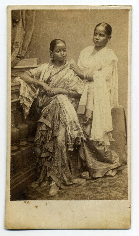 Two Indian Ladies in Sari - Studio Portraits 1870's