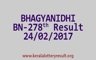 BHAGYANIDHI Lottery BN 278 Results 24-2-2017