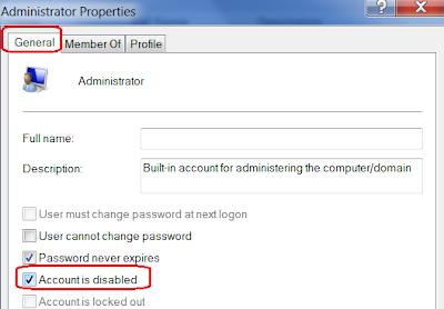 disable User account in Windows 7