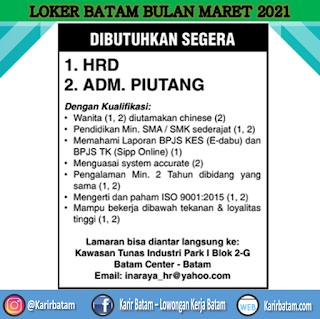 Lowongan Kerja HRD dan Admin Piutang