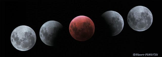 EF400/2.8を恒星時追尾させ、月の動きを出した。 地球の影が良く判る。