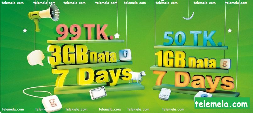 Teletalk 1GB internet 50Tk and 3GB internet 99Tk