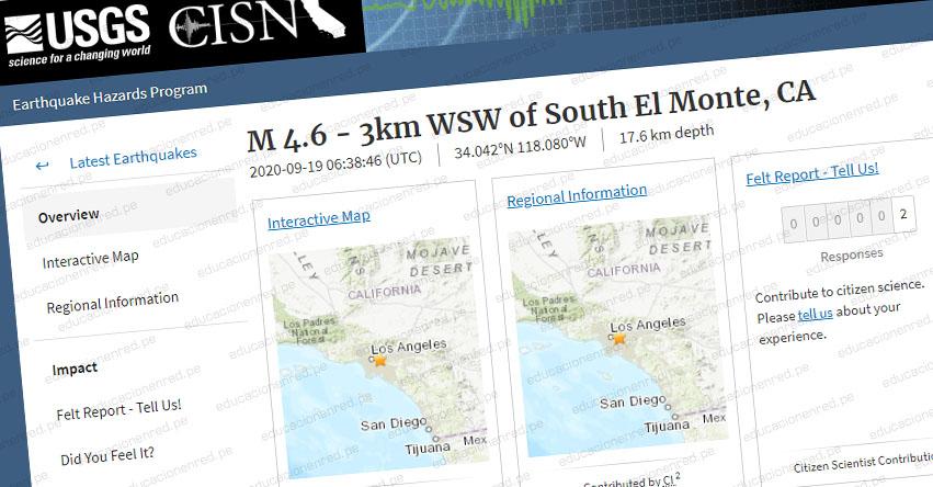 TEMBLOR EN ESTADOS UNIDOS: Sismo de Magnitud 4.6 (ACTUALIZADO Hoy Sábado 19 Septiembre 2020) Epicentro - San Gabriel - El Monte - California - EEUU - USGS