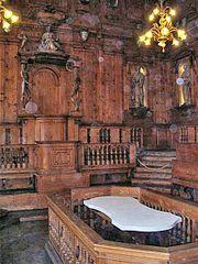 The famous Archiginnasio, the  university's anatomical theatre