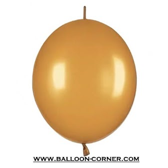 Balon Latex Ekor / Balon Link Super Grade A Warna Gold / Emas