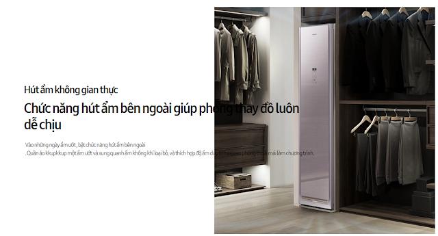 Chức năng hút ẩm bên ngoài giúp phòng thay đồ luôn dễ chịu của máy giặt hấp sấy Samsung DF60N8500RG hồng ánh kim