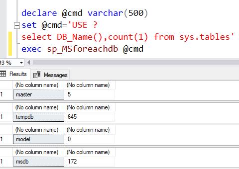 sp_MSforeachdb iterate through all DBs SQL Server 3