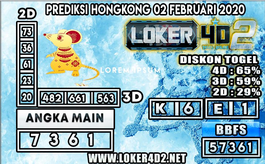 PREDIKSI TOGEL HONGKONG  LOKER4D2 02 FEBRUARI 2020