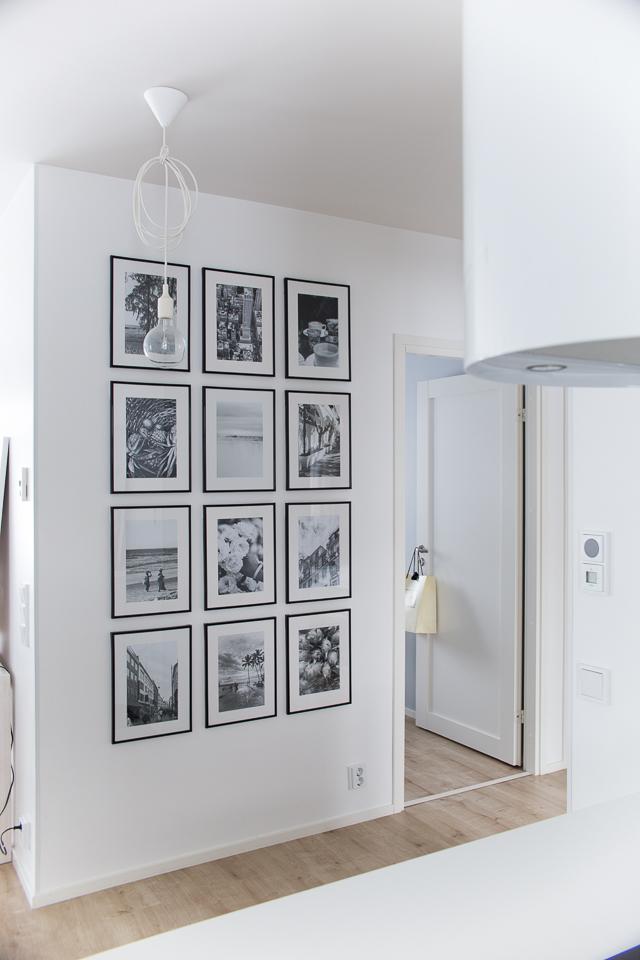 Villa H, sisustus, keittiö, valokuvakollaasi, taulukollaasi, mustavalkoiset kuvat, matkailu, loma