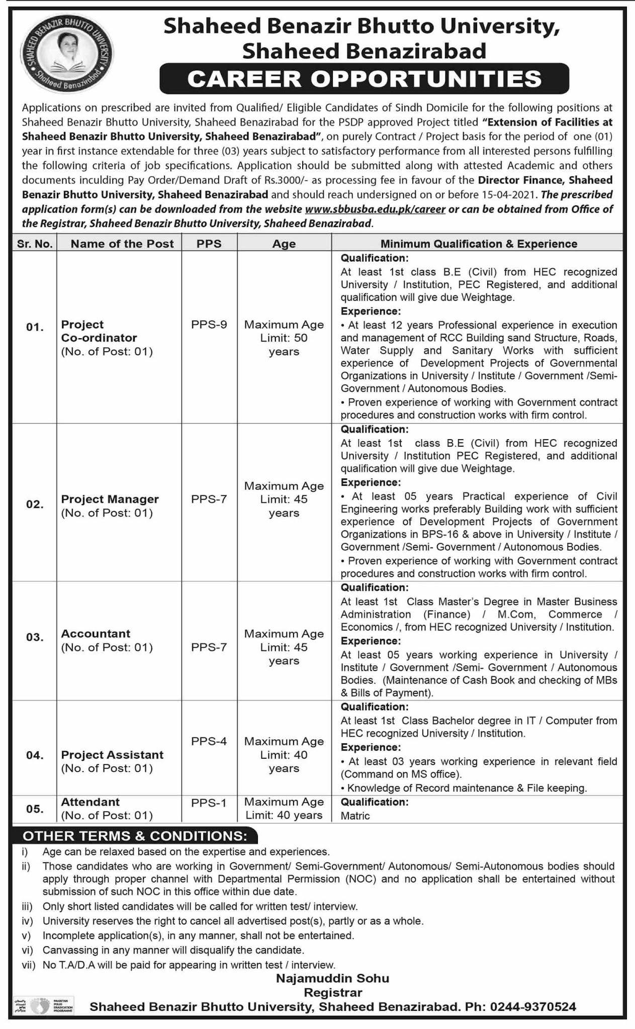 Shaheed Benazir Bhutto University Shaheed Benazirabad Jobs 2021 in Pakistan