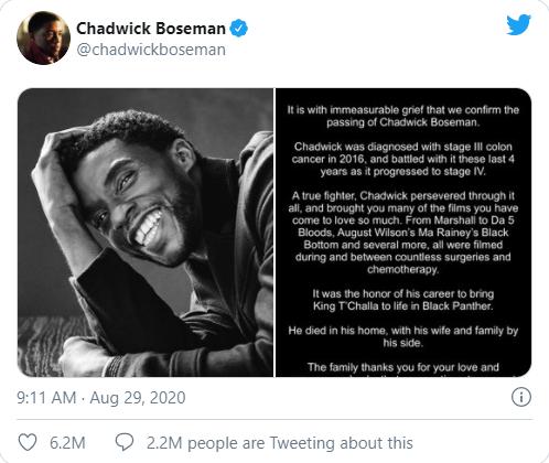 Chadwick Boseman Meninggal Dunia