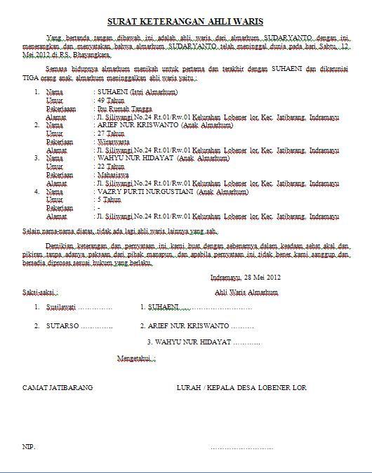 Contoh Surat Ahli Waris Rumah 2019 Kumpulan Contoh Surat