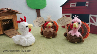 crochet toy turkey on a farm with a white crochet chicken