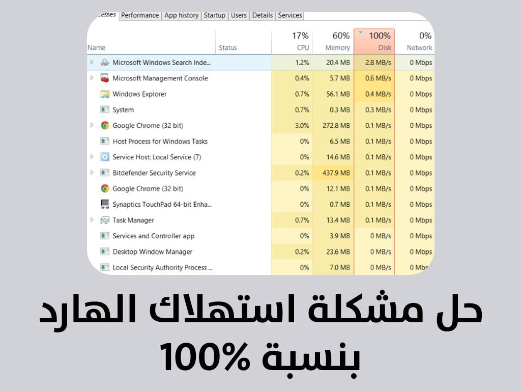 11 طريقة لـ حل مشكلة 100% disk usage على windows 10