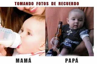 Foto para el recuerdo con mamá vs papá