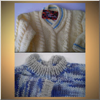 Foto de casaquinhos de lã feitos em tricô por Tear de Retalhos enfatizando a história do tricô.