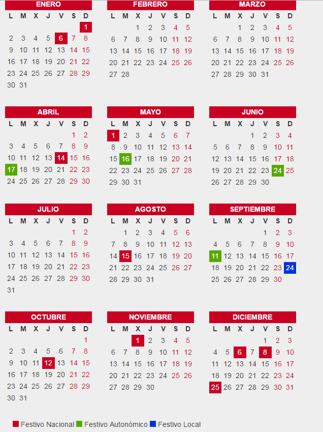 Calendario Laboral De Barcelona 2017