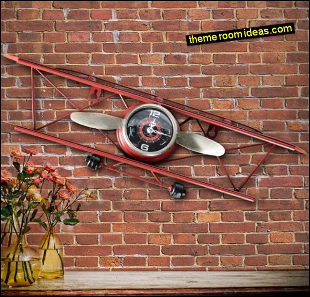 Airplane Wall Clock  Decorative Rustic Wall Clock  airplane bedroom wall decor