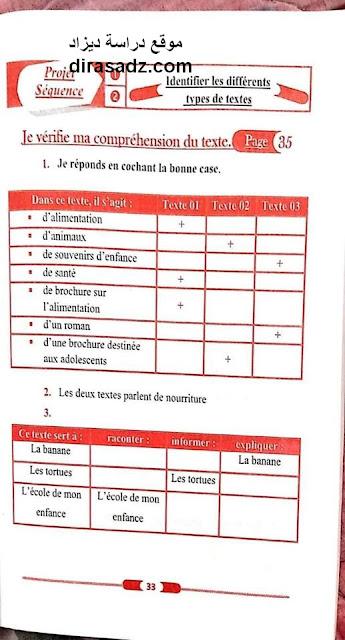 حل تمارين كتاب اللغة الفرنسية للسنة الاولى 1 متوسط صفحة 35 الجيل الثاني