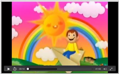 cartoon of boyriding paper airplane, sun, rainbow