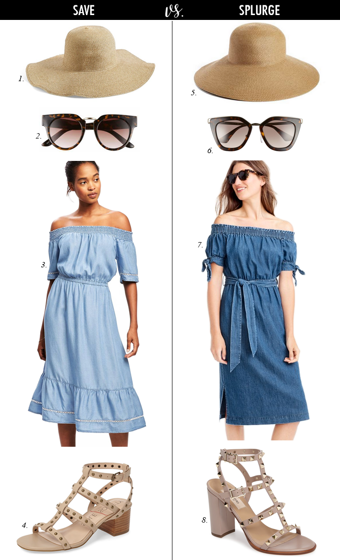 studded valentino sandals, floppy hat, denim chambray off shoulder dress