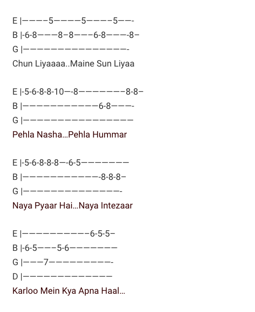 Pehla Nasha Tabs / Jo Jeeta Wohi Sikandar / Guitar Tabs / Pehla Nasha Lead Notes / Hindi Songs Tabs / Udit Narayan & Sadhna Sargam / Love Song Bollywood / Jo Jeeta Wohi Sikandar Movie / Gaane