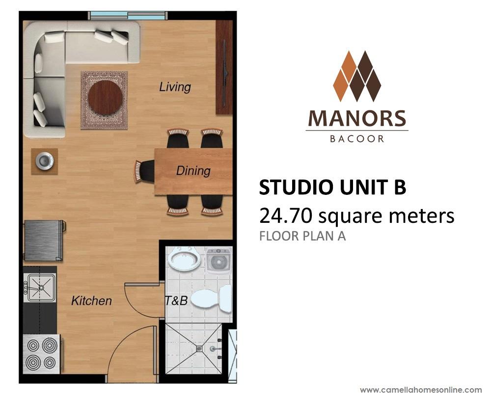 Floor Plan of Studio 24.70 Sqm - Manors Bacoor | Condo for Sale Bacoor Cavite