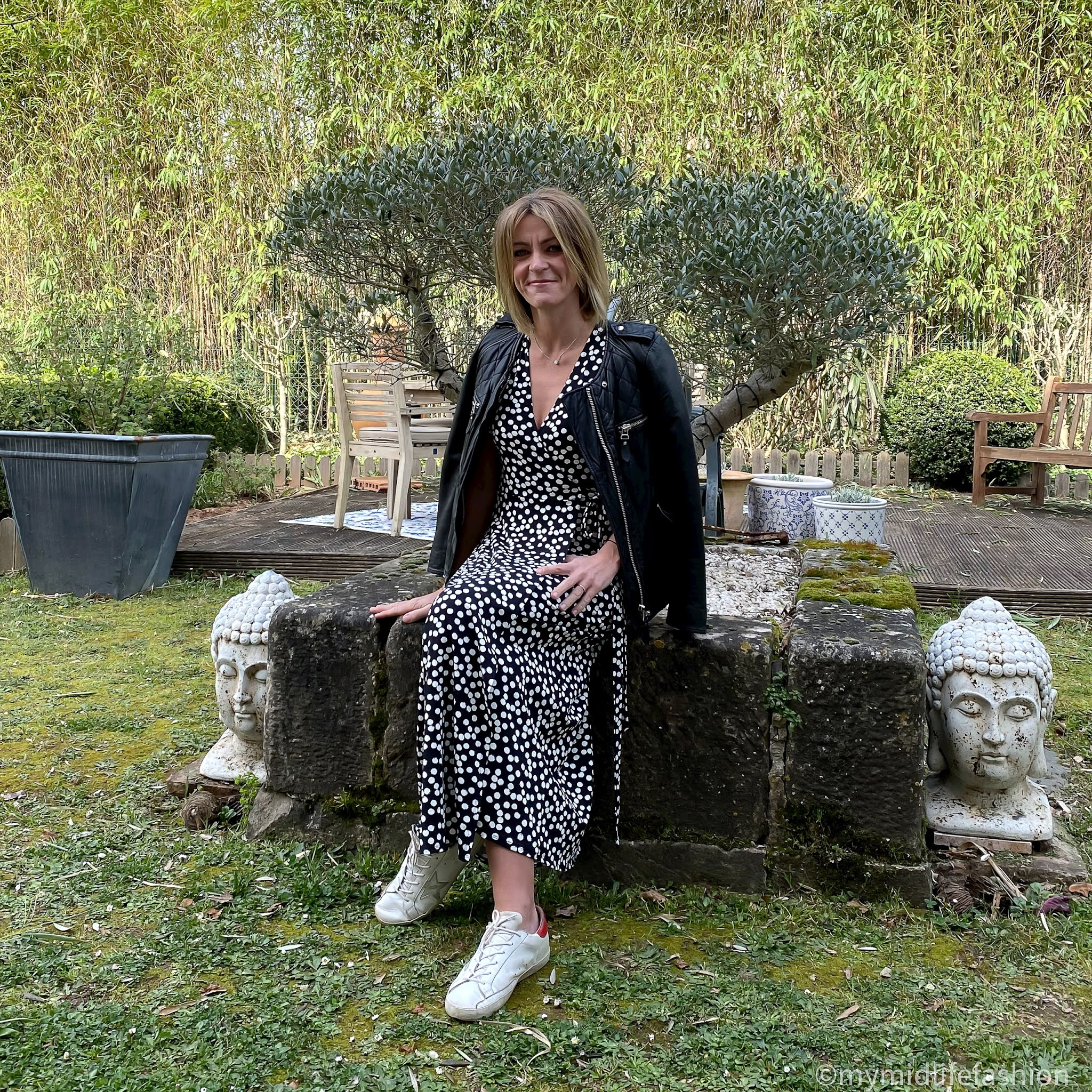 my midlife fashion, baukjen Daniella Dress, Isabel Marant Etoile leather jacket, golden goose superstar low top leather trainers