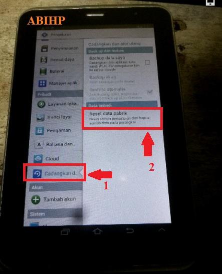 Pilih cadangkan data lalu reset data pabrik Samsung p3100.