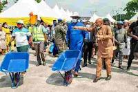 Nigerians react over Festus Keyamo's wheelbarrow and cutlass empowerment program