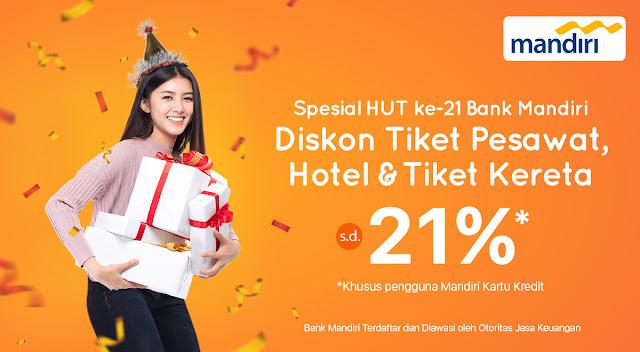 #PegiPegi - #Promo Diskon Hingga 21% Tiket Pesawat, Hotel, & Tiket Kereta Hut Mandiri (s.d 31 Okt 2019)
