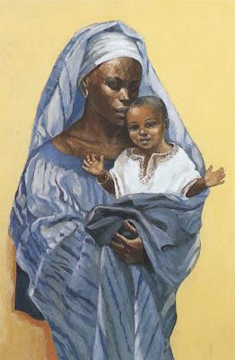 beautiful black madonna and baby Jesus
