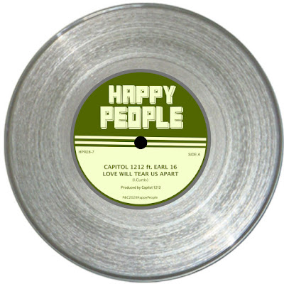 The paper label of the single features the name of the artist, the song title, and the imprint, Happy People Records.