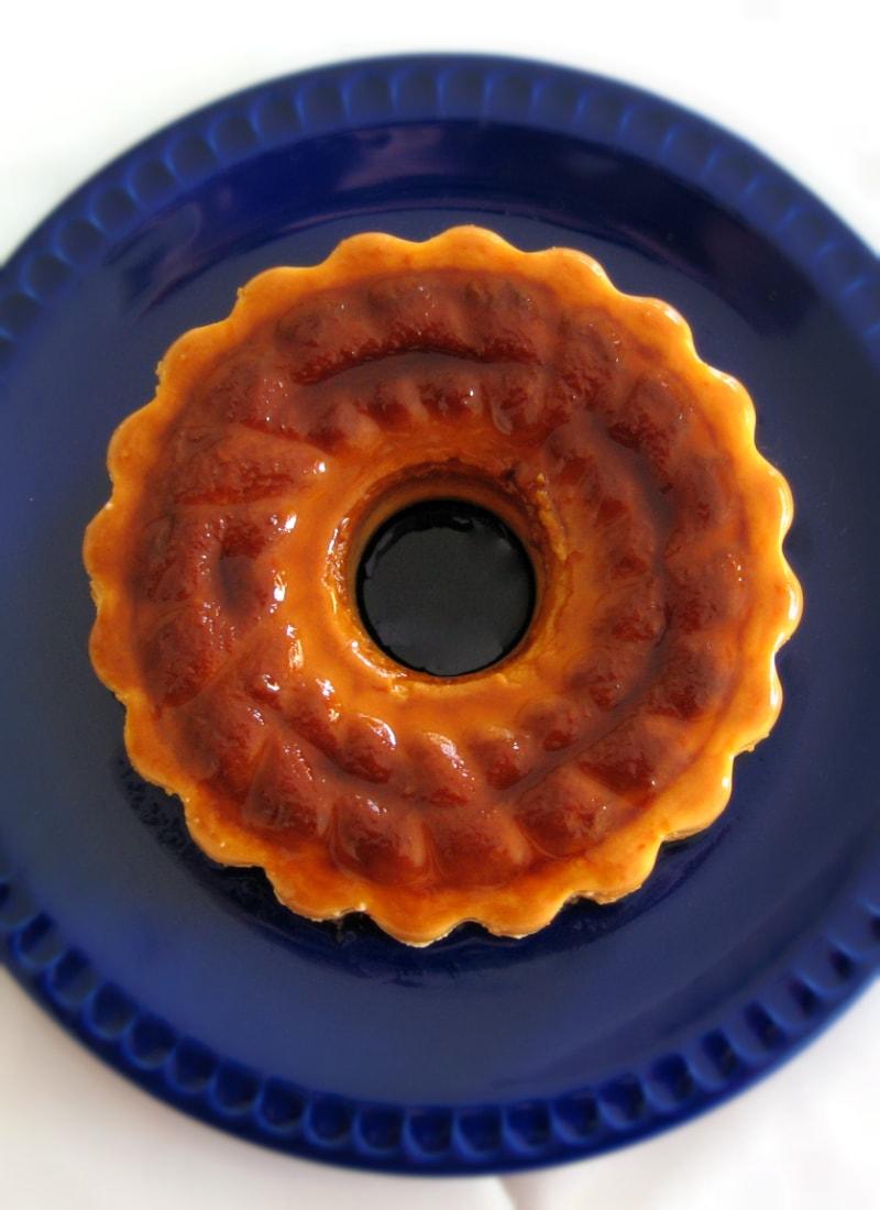 Pudim de Côco e Laranja visto de cima / Coconut-Orange pudding seen from above