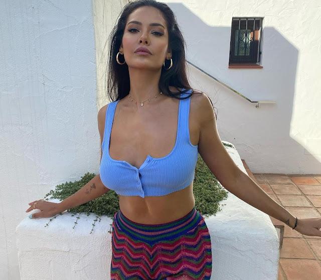 Esha Gupta SIZLLES In Crop Top And Multicoloured Pants