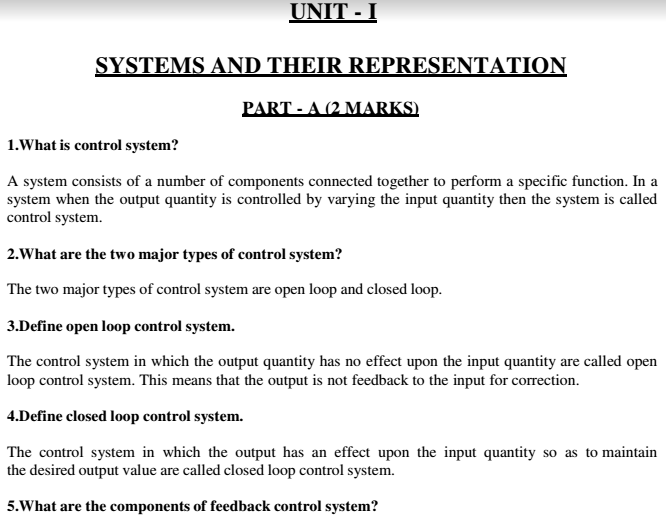 Control System Unit wise Viva Short Questions and Answers PDF ...