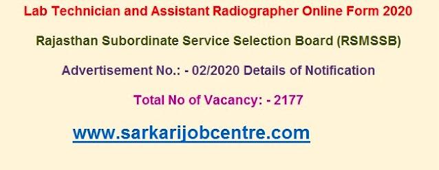 Rajasthan Recruitment Online Form 2020