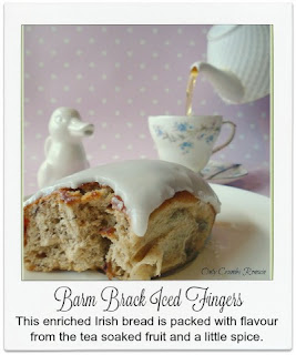 These barm brack iced fingers are packed with flavour from the tea soaked fruit and the inclusion of a little spice.  They are finished with plain water icing.