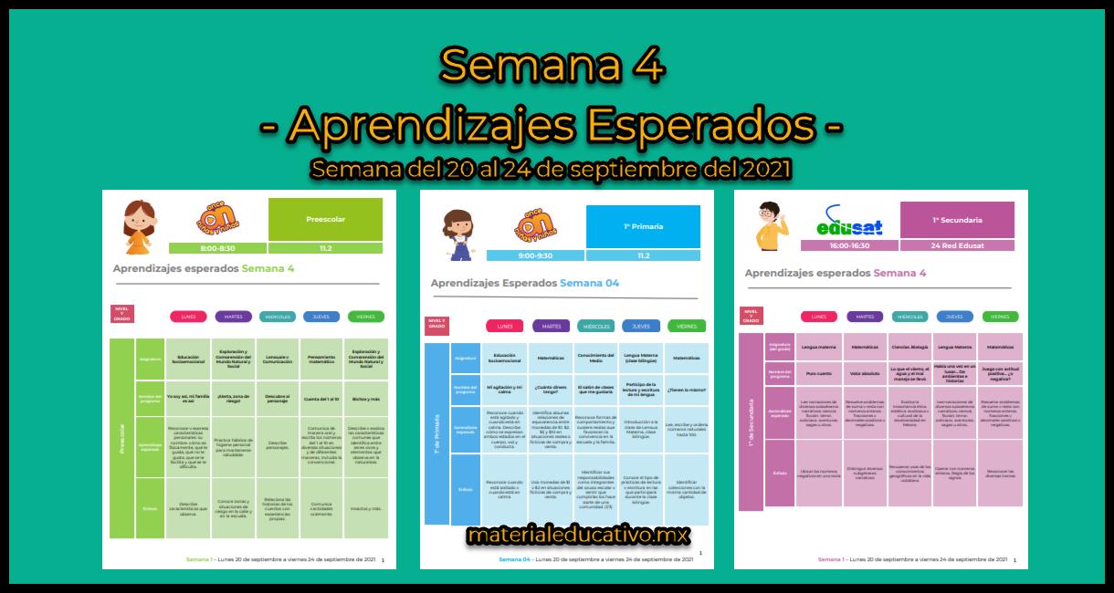 Semana 4 - Aprende en Casa SEP - Aprendizajes Esperados - Preescolar - Primaria - Secundaria
