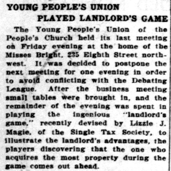 The Landlord's Game newspaper article 1903
