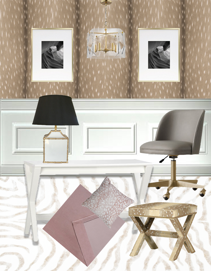 Blush, fawn and gold feminine office inspiration.
