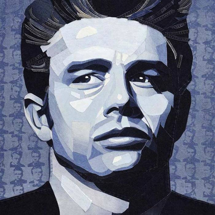 The artist Ian Berry uses denim to create realistic portraits of celebrities