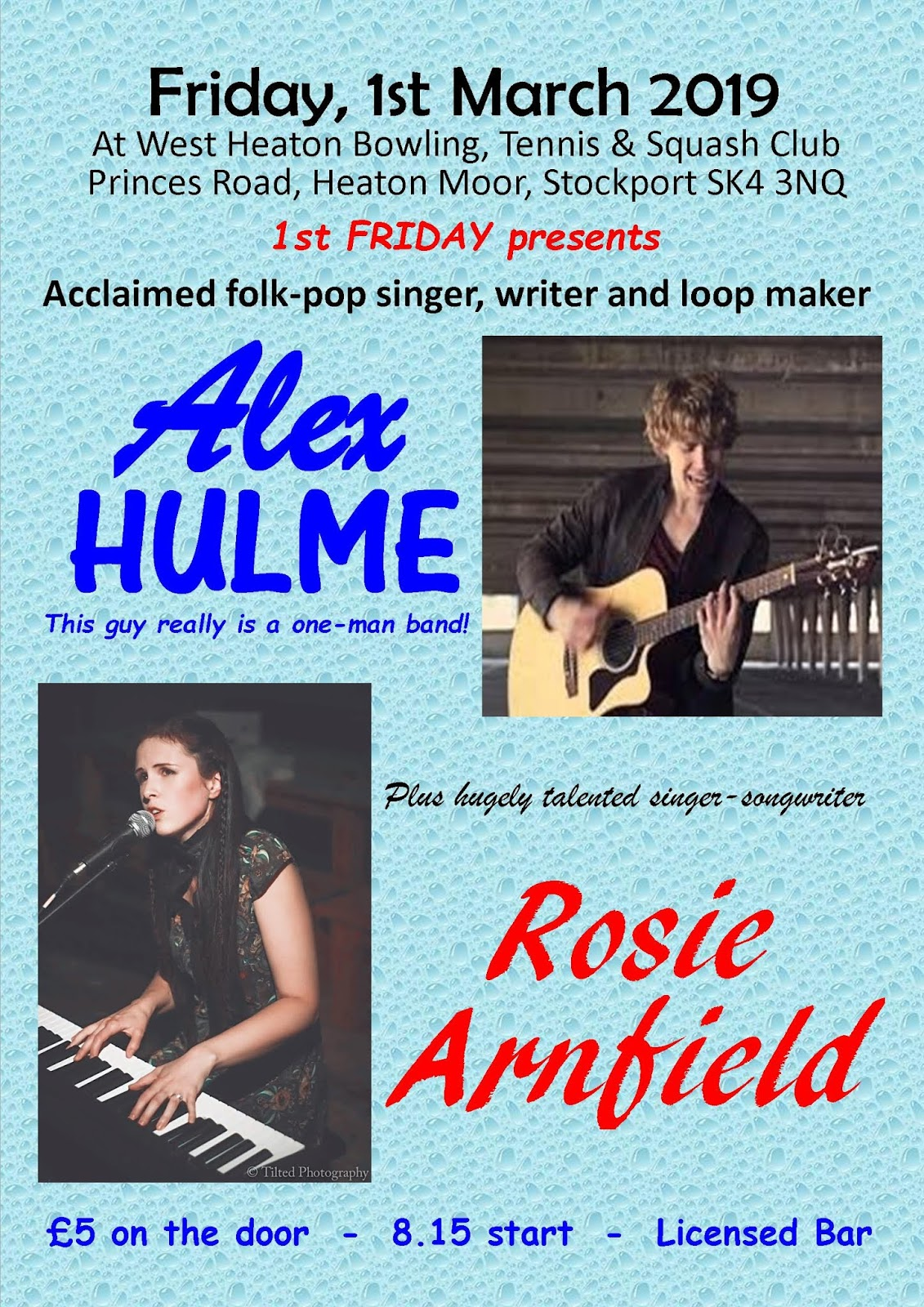 Alex Hulme with Special Guest Rosie Arnfield - Fri 1st March