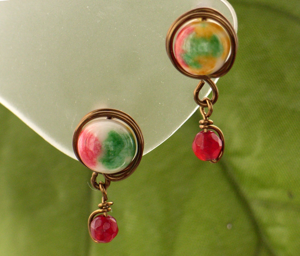 seed pink gold peach pin mm in earrings stud beaded bead