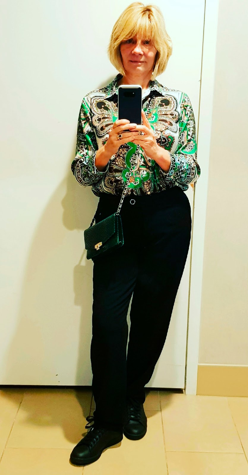 Zara paisley print blouse with black trousers