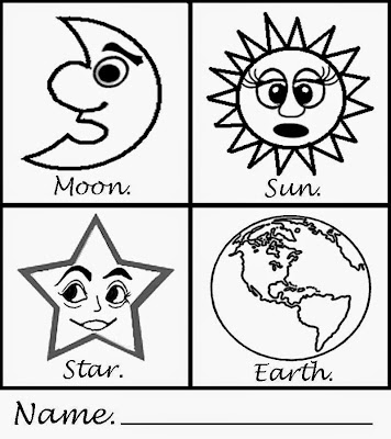 Simple art sun moon earth star printable craft fun pages for kids kindergarten coloring activities