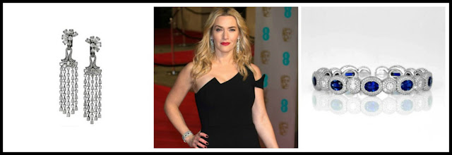 BAFTA Awards, David Morris Jewellery, Kate Winslet, sapphires, diamonds, chandelier earrings
