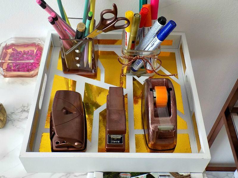 DIY geometric gold tray, office desk accessories